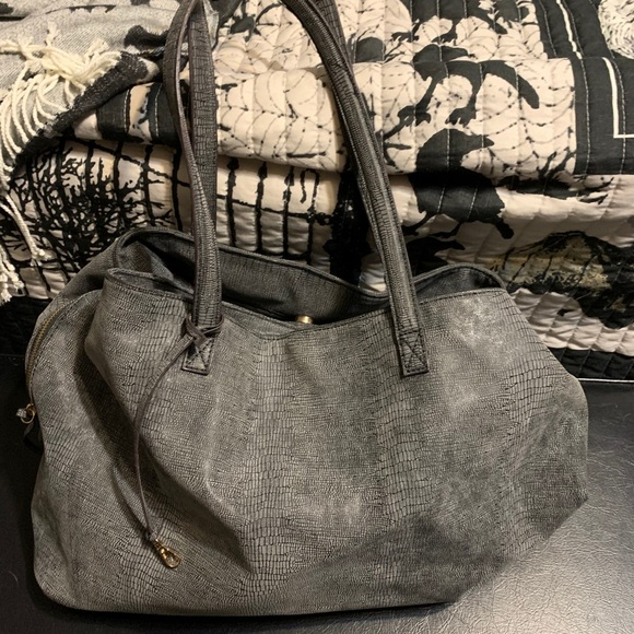 Free People Ren Woven Leather Oversized Tote Bag Blue Gray NWOT $178